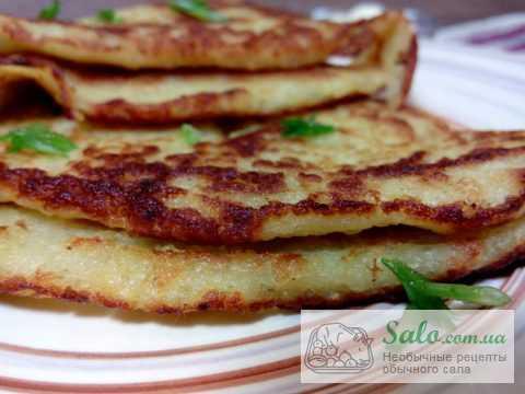 Картофельные лепешки с салом.Пошаговый рецепт.